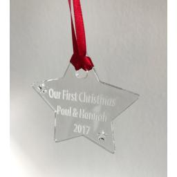 Clear Acrylic Hanging Star - Christmas Tree / Home Decor- Free Personalisation