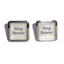 Ring Bearer Ivory Square Wedding Cufflinks