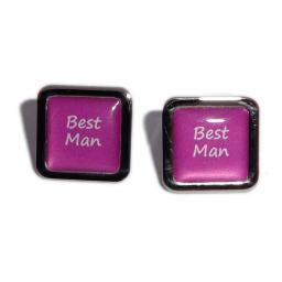 Best Man Hot Pink Square Wedding Cufflinks