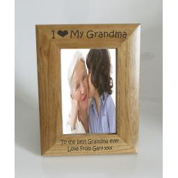 Grandma Photo Frame 4 x 6 - I heart-Love My Grandma 4 x 6 Photo Frame - Free Engraving
