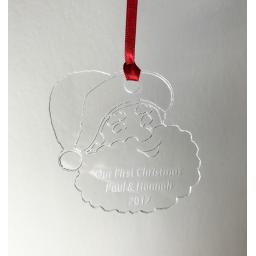 Clear Acrylic Hanging Santa - Christmas Tree / Home Decor- Free Personalisation