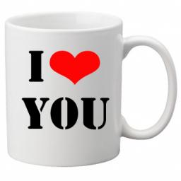 I Love You Bold Font on a Quality Mug, Valentines, Birthday or Christmas Gift Great Novelty 11oz Mug