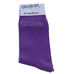 Purple Wedding Socks - Groom In Clear Sparkely AB Crystals