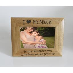Niece Photo Frame 6 x 4 - I heart-Love My Niece 6 x 4 Photo Frame - Free Engraving