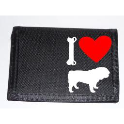 I Love British Bulldog Dogs on a Black Nylon Wallet, Stunning Birthday, Fathers Day or Christmas Gift