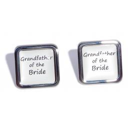 Grandfather of the Bride White Square Wedding Cufflinks