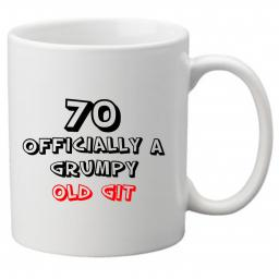70 Officially a Grumpy Old Git, Perfect Gift for 70th Birthday. Great Novelty 11oz Mugs