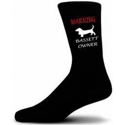 Black Warning Basset Hound Owner Socks - I love my Dog Novelty Socks