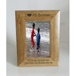 Brother Photo Frame 4 x 6 - I heart-Love My Brother 4 x 6 Photo Frame - Free Engraving