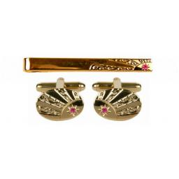 Ruby Starburst Cufflink and Tie Slide Set All our cufflinks come presented in a gift box
