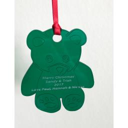 Green Acrylic Hanging Teddy - Christmas Tree / Home Decor- Free Personalisation