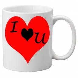 I Love You in a Red Heart on a Quality Mug, Valentines, Birthday or Christmas Gift Great Novelty 11oz Mug