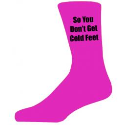 Hot Pink Wedding Socks with Black So You Don't Get Cold Feet Title Adult size UK 6-12 Euro 39-49