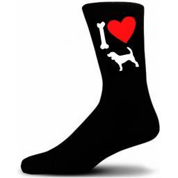Mens Black Novelty Beagle Socks- I Love My Dog Socks Luxury Cotton Novelty Socks Adult size UK 5-12 Euro 39-49