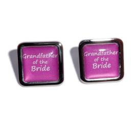 Grandfather of the Bride Hot Pink Square Wedding Cufflinks