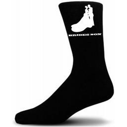 Elegant Bride And Groom Figure Black Wedding Socks - Brides Son (Medium UK Childrens 12 5-3)