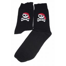 Skull and Cross Bones/Jolly Roger with a Red Bandana Socks, Great Novelty Gift Socks Luxury Cotton Novelty Socks Adult size UK 6-12 Euro 39-49
