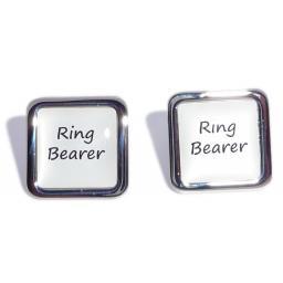 Ring Bearer White Square Wedding Cufflinks