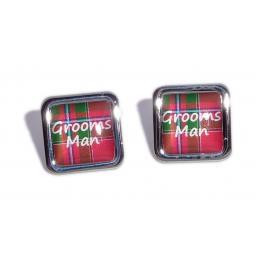 Grooms Man Red Tartan Square Wedding Cufflinks