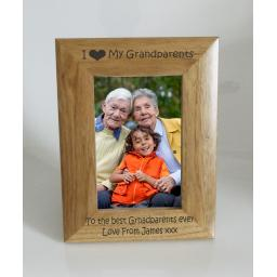 Grandparents Photo Frame 4 x 6 - I heart-Love My Grandparents 4 x 6 Photo Frame - Free Engraving