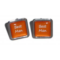 Best Man Orange Square Wedding Cufflinks