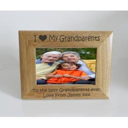 Grandparents Photo Frame 6 x 4 - I heart-Love My Grandparents 6 x 4 Photo Frame - Free Engraving