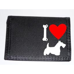 I Love Scottish Terrier, Scottie Dogs on a Black Nylon Wallet, Stunning Birthday, Fathers Day or Christmas Gift