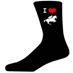 I Love Horse Jumping Picture Socks. Black Cotton Novelty Socks. Adult UK 5-12