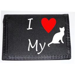 I Love my Cat on a Black Nylon Wallet, Lovely Birthday, Fathers Day or Christmas Gift