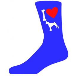 Blue Novelty Boxer Socks - I Love My Dog Socks