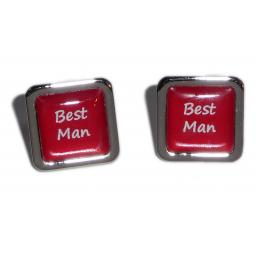 Best Man Red Square Wedding Cufflinks