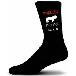 Black Warning Bulldog Owner Socks - I love my Dog Novelty Socks