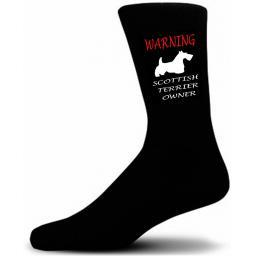 Black Warning Scottish Terrier Owner Socks - I love my Dog Novelty Socks
