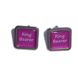 Ring Bearer Hot Pink Square Wedding Cufflinks