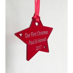 Red Acrylic Hanging Star - Christmas Tree / Home Decor- Free Personalisation
