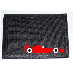 Red F1 Car on a Black Nylon Wallet, Funky Birthday, Fathers Day or Christmas Gift