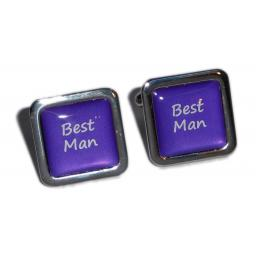 Best Man Purple Square Wedding Cufflinks