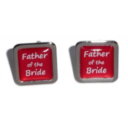 Father of the Bride Red Square Wedding Cufflinks