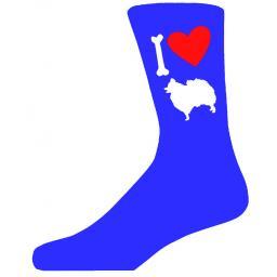 Blue Novelty Pomeranian Socks - I Love My Dog Socks