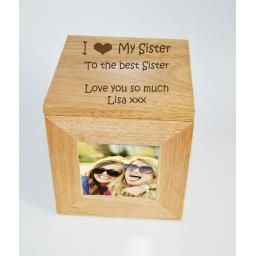 Personalised Oak Wooden Photo Box Keepsake Cube Box Engraved - I heart My Sister