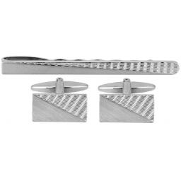 Engine-turned Cufflink and Tie Slide Set A Great High Quality Product