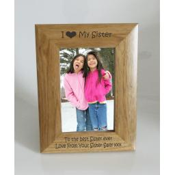 Sister Photo Frame 4 x 6 - I heart-Love My Sister 4 x 6 Photo Frame - Free Engraving