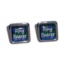 Ring Bearer Blue Tartan Square Wedding Cufflinks