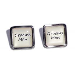 Grooms Man Ivory Square Wedding Cufflinks