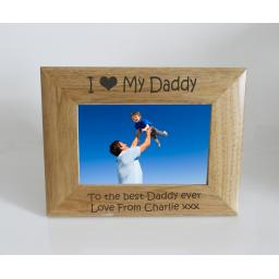 Daddy Photo Frame 6 x 4 - I heart-Love My Daddy 6 x 4 Photo Frame - Free Engraving