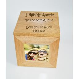 Personalised Oak Wooden Photo Box Keepsake Cube Box Engraved - I heart My Auntie