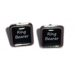 Ring Bearer Black Square Wedding Cufflinks