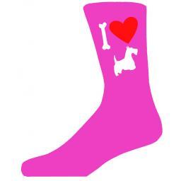 Hot Pink Ladies Novelty Scottish Terrier Socks- I Love My Dog Socks Luxury Cotton Novelty Socks Adult size UK 5-12 Euro 39-49