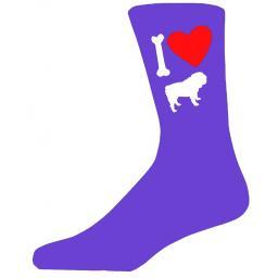 Purple Ladies Novelty Bulldog Socks- I Love My Dog Socks Luxury Cotton Novelty Socks Adult size UK 5-12 Euro 39-49