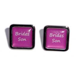 Brides Son Hot Pink Square Wedding Cufflinks
